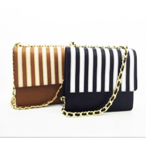 Detailed Stripe Full Grain Leather Cross Body Bag