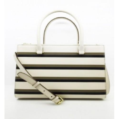 Stripe Elegant Split Leather Tote Bag / Cross Body Bag