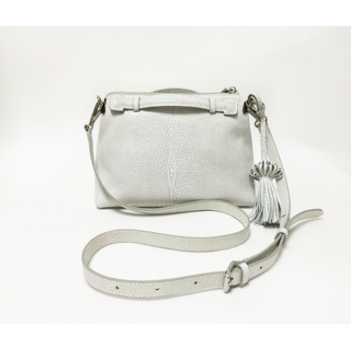 Elegant White Silver Color Split leather Ladies Cross Body Bag