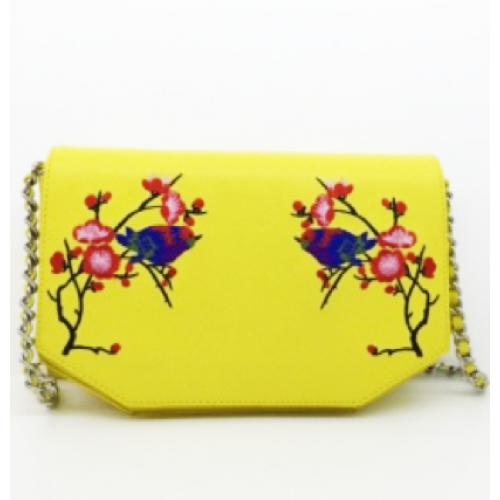 Flower Pattern Split Leather Ladies Cross Body Bag
