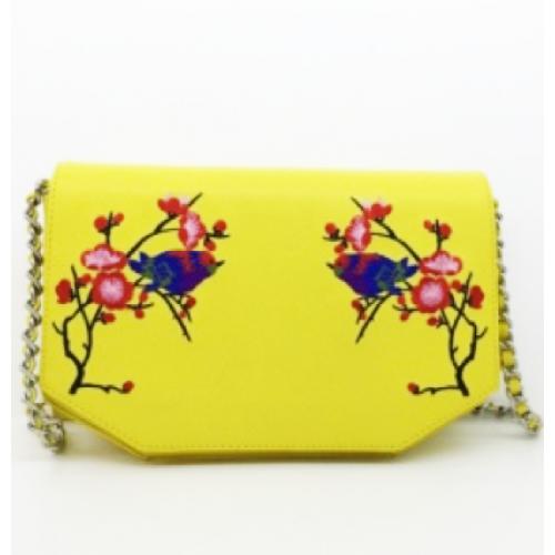 Flower Pattern Split Leather Ladies Cross Body Bag