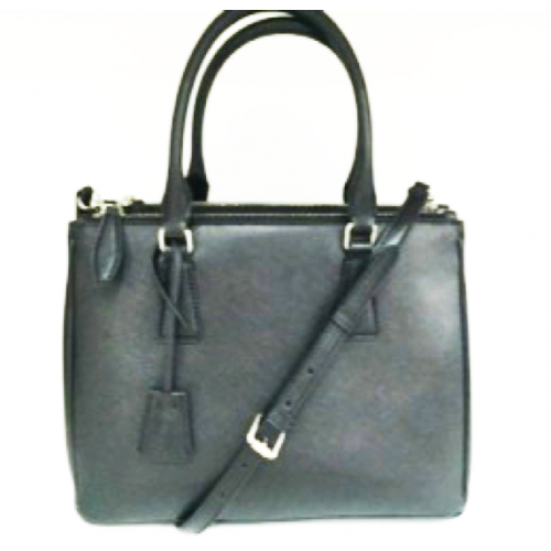 Classic Black Color Split Leather Ladies Tote Bag