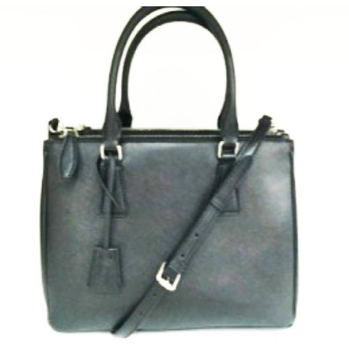 Classic Black Color Split Leather Ladies Tote Bag