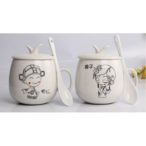 Couple birthday gift ceramic cup with spoon ( customised logo)