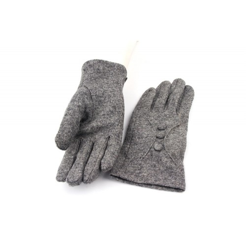 Ladies' Button Detailed Cashmere Velvet Gloves