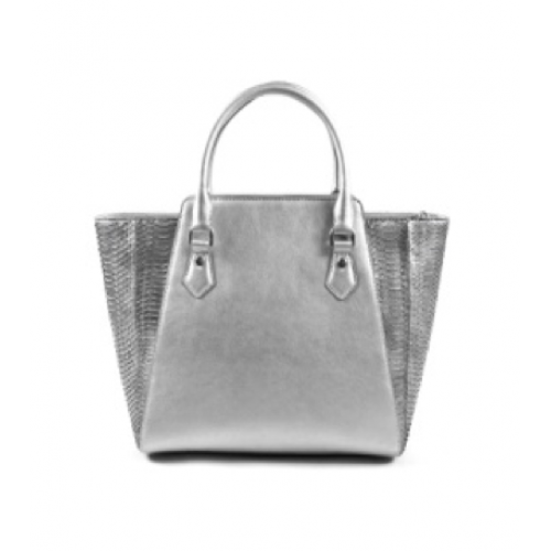 Silver Color Elegant Full Grain Leather Ladies Tote Bag