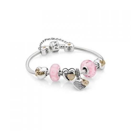PANDORA 2Tone Bracelet with Murano Charms
