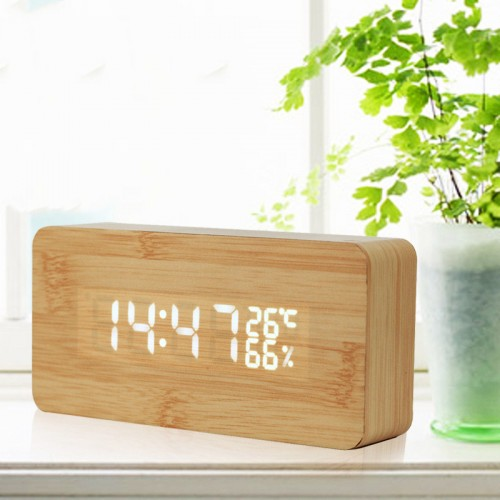 LED Wooden Electronic Voice Control Clock
