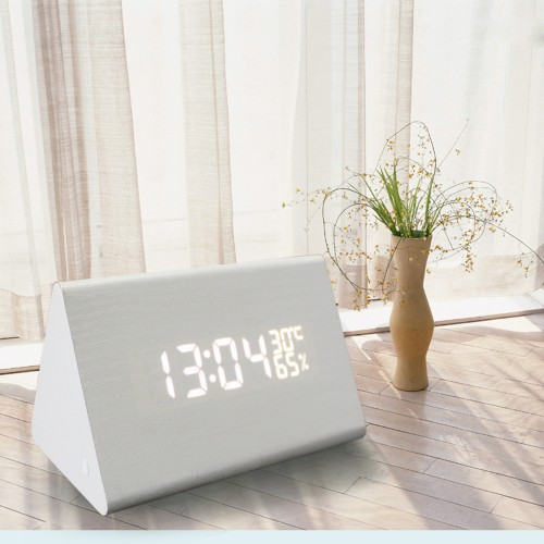 LED Wooden Electronic Voice Control Clock-Triangle shape