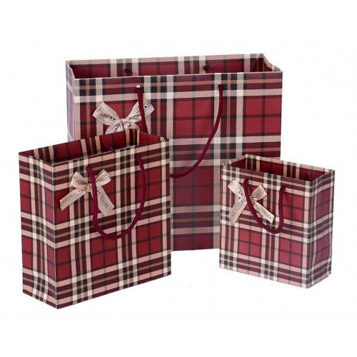 Classic Dark Red Checkered Pattern Gift Bag/ Paper Bag
