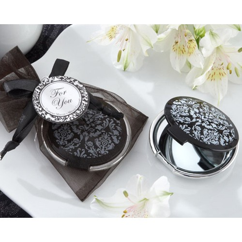 Wedding Favors / Company Gifts  Black Pattern Round Mirror