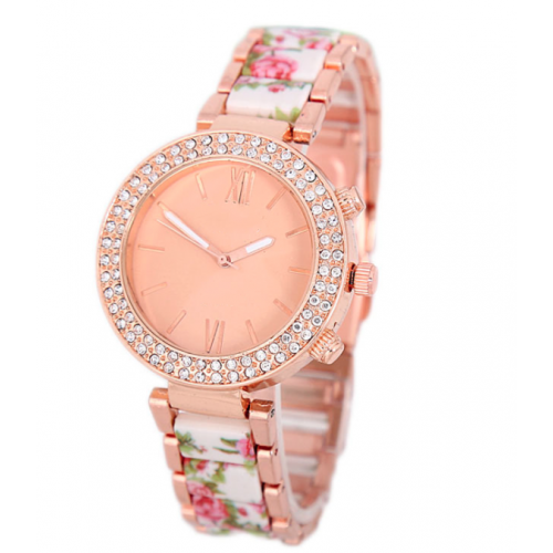 Fashionable Crystal Detailed Quartz Watch