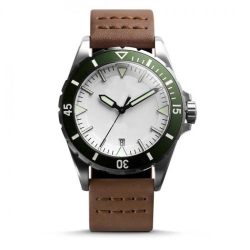 Men's Stainless Steel Genuine Leather Quartz Watch